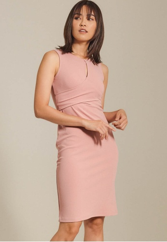 Dressing Paula pink Overlap Roma Knit Dress 8AADFAA7F7D572GS_1