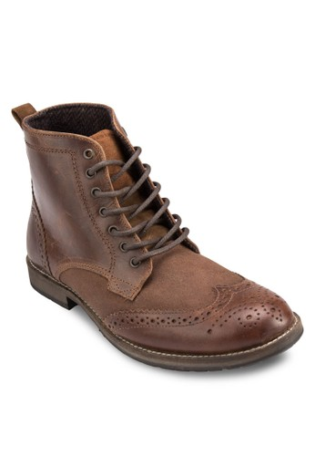 esprit 童裝Salute 布洛克沖孔雕花皮革短靴, 鞋, 鞋