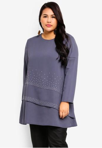 BYN grey Plus Size Muslimah Blouse D0569AA7B31F25GS_1