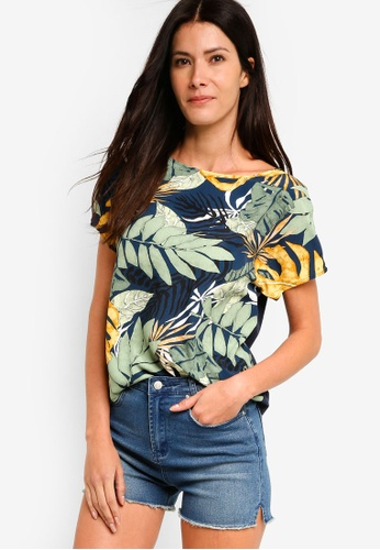ZALORA multi and navy Mix Material Floral Top 348A5AAC44FD0AGS_1
