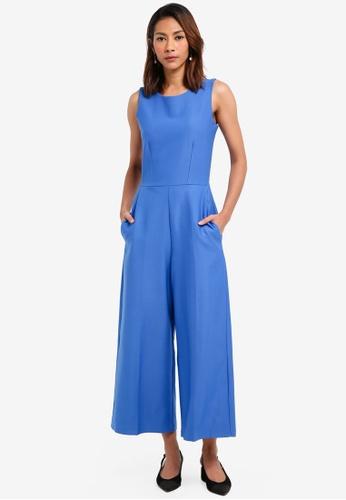 CLOSET blue Crop Wide Leg Jumpsuit 0A944AAB57DFC0GS_1