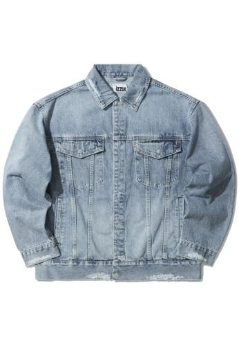 izzue blue Contrast stitch denim jacket 96240AA8F9474BGS_1