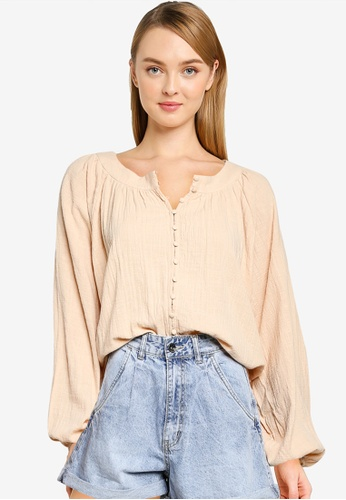 Cotton On brown and beige Smock Blouse 42C41AA76A220CGS_1