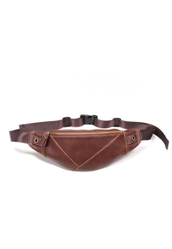 Lara brown Plain Zipper Belt Bag - Brown 331CDAC118CD59GS_1
