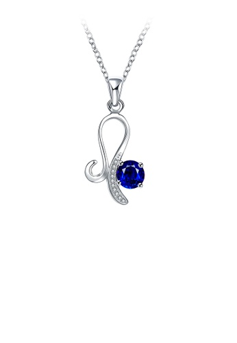 Glamorousky blue Fashion Personalized Geometric Pendant with Blue Cubic Zirconia and Necklace 9912DAC6A2DACFGS_1