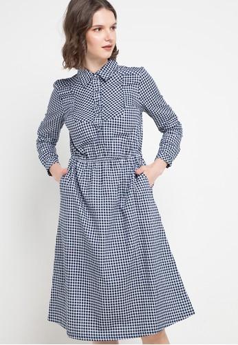 Le'Rosetz navy Navy Grid Long Dress EB052AA42BD0E8GS_1