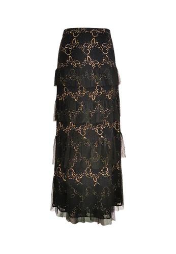 MARKS & SPENCER black M&S Metallic Lace Frill Maxi Skirt 6773CAA20EF200GS_1