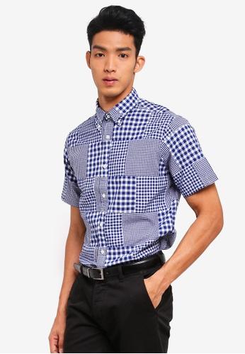 Brooks Brothers 藍色 短袖格紋襯衫 76305AA44364E9GS_1