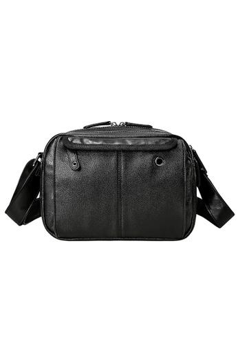 Lara black Men's Zipper Cross Body Bag - Black 663B4ACEB92ED0GS_1