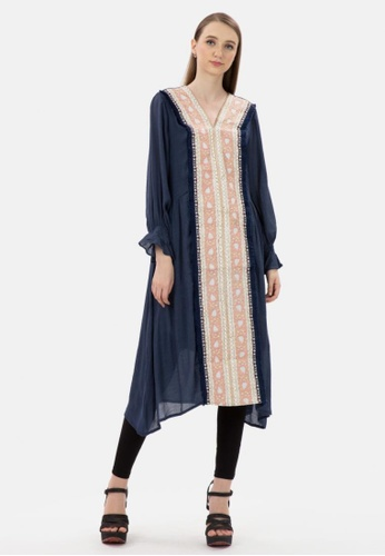 MKY Clothing navy MKY Fringe Line Embroidery Dress in Navy 16407AAD3B1EB1GS_1