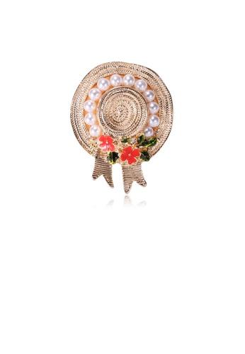 Glamorousky white Fashion and Elegant Plated Gold Flower Hat Imitation Pearl Brooch EDB7DAC65F1CD7GS_1