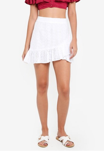TOPSHOP white Broderie Ruffle Mini Skirt 72C59AA90C996FGS_1