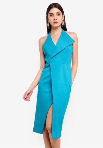 5a854113c5f0 Buy Lavish Alice Oversized Collar Halter Midi Dress Online on ZALORA ...