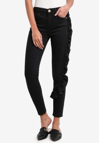 River Island black Frill Super Skinny Jeans 6F430AA92C5C07GS_1
