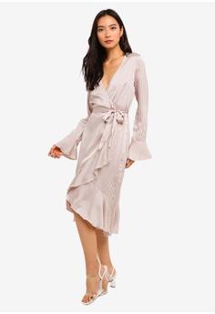 5c53b6383e2 MISSGUIDED pink Striped Frill Wrap Front Dress A9BA2AA2E99595GS 1
