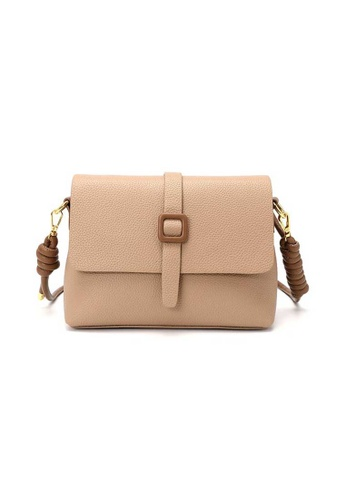 Lara beige Women's Elegant Litchi Pattern PU Leather Flap Shoulder Bag - Beige FD344AC2003C52GS_1