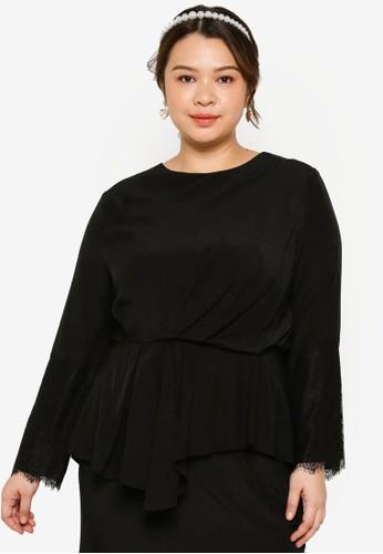 Lubna black Plus Size Draped Sleeve Lace Top A857FAA13E6789GS_1