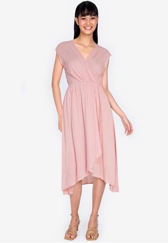 ZALORA BASICS pink Tulip Wrap Mini Dress C2972AA52FD71DGS_1