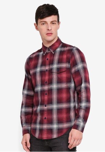 Abercrombie & Fitch red Long Sleeve Checkered Shirt 8C98FAA3231A8FGS_1