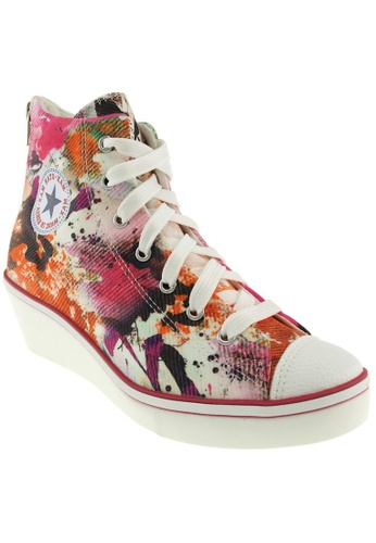 Maxstar Maxstar Women's N7H Zipper Canvas Low Wedge Heel Sneakers Printed MA164SH75PZCSG_1
