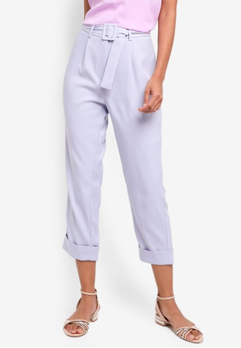 ZALORA BASICS purple Basic Belted Tapered Trousers 35E81AACDE68E3GS_1