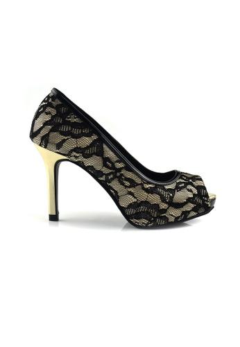 SHINE black and beige Peep Toe Lace Plateform Heels SH554SH59ZKASG_1
