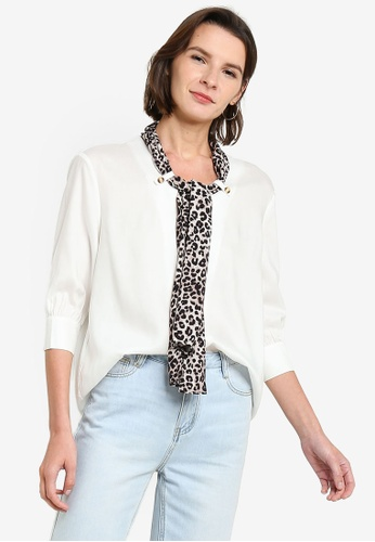 Hopeshow white Leopard Print Scarf Chiffon Blouse 5102CAAE061484GS_1