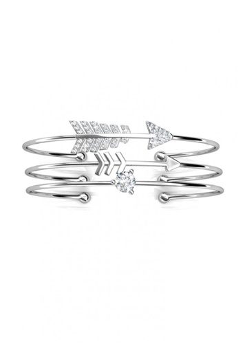 Her Jewellery silver Swarovski® Crystals - Cupid Bangle (18K White Gold Plated) Her Jewellery HE581AC0RCD1MY_1