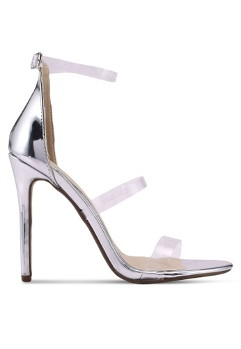 MISSGUIDED silver 3 Strap Perspex Barely There Heels DB976SHE2388C2GS_1