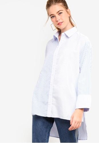 Something Borrowed blue Contrast Striped Boyfriend Shirt 48380AA6CB8712GS_1