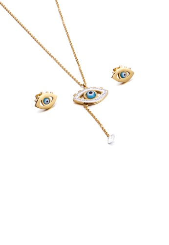 Glamorousky white Fashion Personality Plated Gold Angel Eyes 316L Stainless Steel Necklace and Stud Earrings with Cubic Zirconia F58A3AC271DAA5GS_1