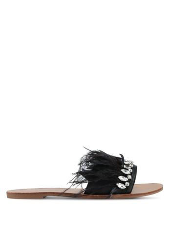 Velvet black Jeweled Feather Sliders 9F358SH20438F6GS_1