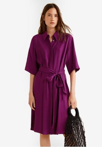 Mango purple Bow Shirt Dress EE8E1AAE7783F9GS_1