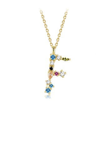 Glamorousky silver 925 Sterling Silver Plated Gold Fashion Simple Color English Alphabet F Pendant with Cubic Zirconia and Necklace D0D26AC43C75B0GS_1
