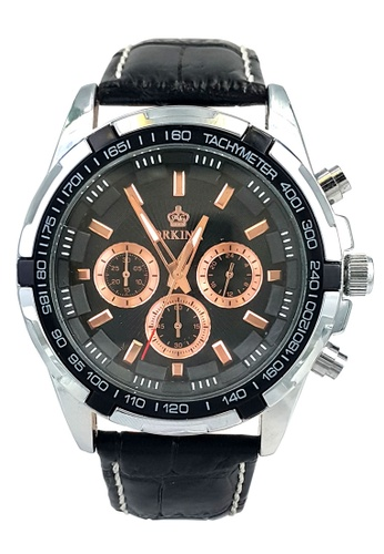 Chronomart black and silver Orkina Chronograph Japan Movement Leather Band Men's Wrist Watch CH783AC23YOMPH_1