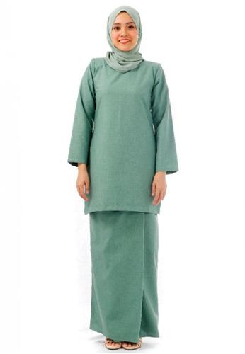 KAMDAR green Aysha Salma Kurung Modern-Dark Green 658A1AA745780AGS_1