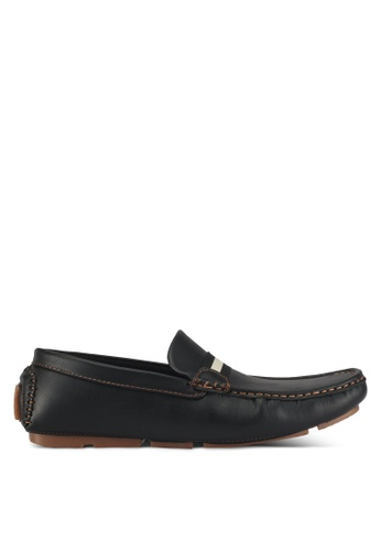 UniqTee black Moccasins With Contrast Strap And Stitch 3BAE8SHEDDFB49GS_1
