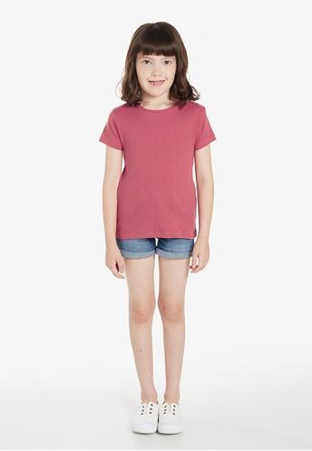 Gen Woo pink Slim Fit Ribbed Basic T-Shirt By Gen Woo 1DC0CKA1A9E1B3GS_1