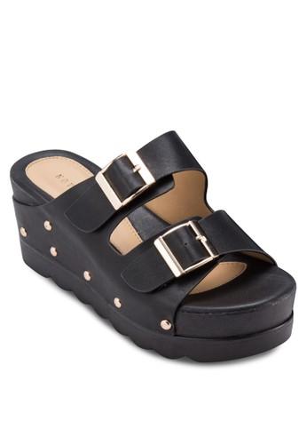 鉚釘扣環寬帶楔形鞋, 女鞋, 楔形esprit門市地址涼鞋