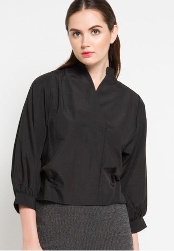 Lavabra black Poplin Blouse with Puff Sleeves LA387AA98BLLID_1