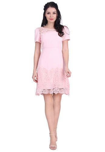 DreamTales Wardrobe pink Crochet Lace Hem Dress F9D38AAB7719B8GS_1