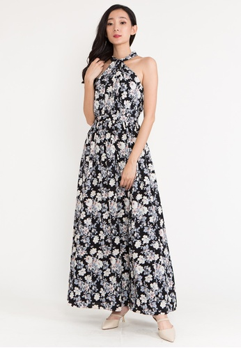 BEBEBEIGE black BebeBeige Halter Neck Sleeveless Floral Evening Long Dinner Dress E62E2AA030B8A7GS_1