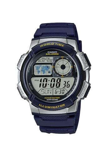 CASIO blue Casio Men's Digital AE-1000W-2AVDF Black Resin Band Sport Watch CA347AC80KWLID_1