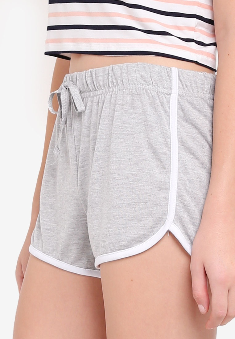 Marle Bind Retro Grey Contrast On Cotton Shorts wq7tYR4f