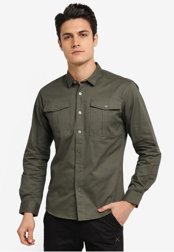 JAXON green Patch Pockets Long Sleeves Shirt 7EFDBAA36F866EGS_1