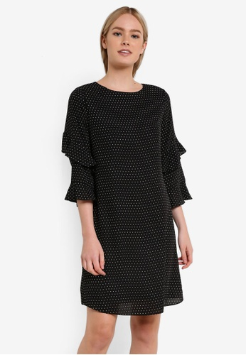 Dorothy Perkins black Mono Ruffle Sleeve Shift Dress DO816AA0REW8MY_1