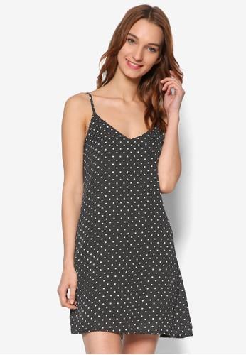 點點印花細肩zalora 衣服評價帶連身裙, 服飾, 洋裝