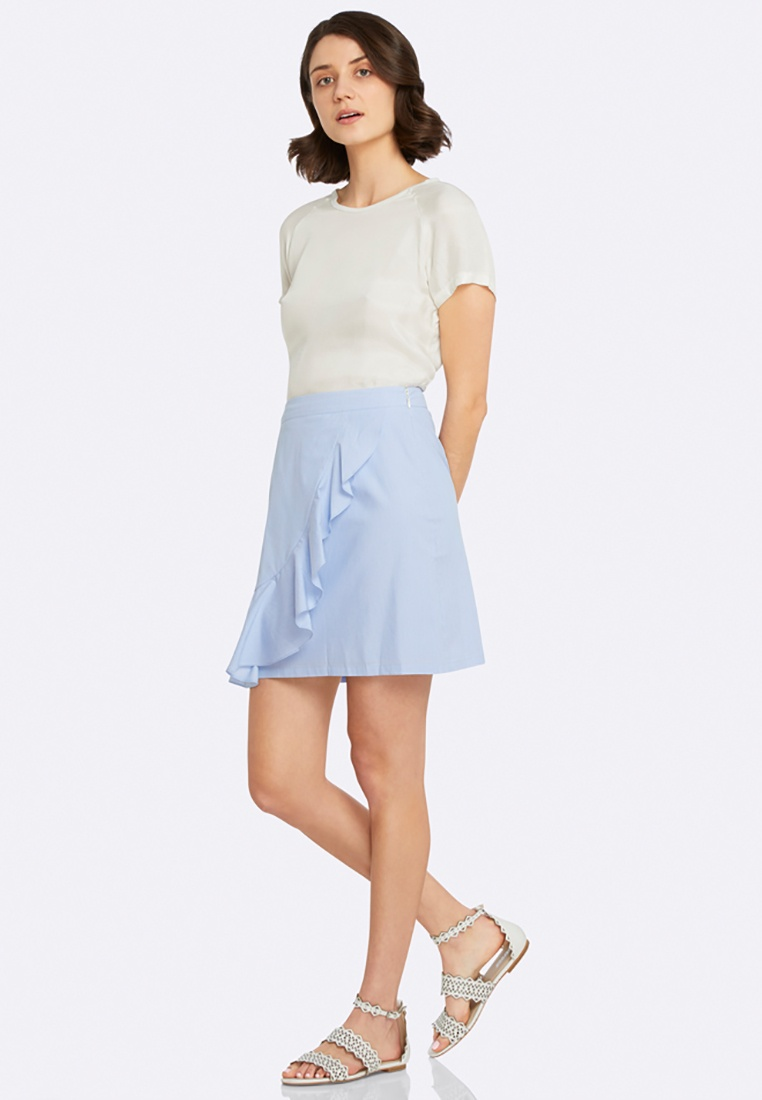 Skirt Erica Ruffle Blue Striped Oxford AqU6FcU