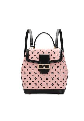 PLAYBOY BUNNY pink Women's Monogram Printed Backpack 85D00ACCB12B64GS_1