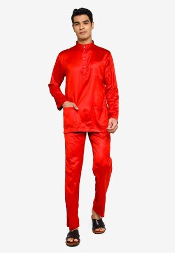 Fidelio red Jaspar Slim Fit Baju Melayu Modern E976DAA300E497GS_1